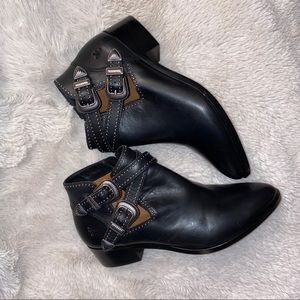 Frye buckle booties with studs